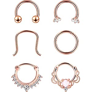 6 Stilen 16 Gauge Edelstahl Nasenring Piercing Septum Klicker Halter Set Körperschmuck Piercing, Rose Gold