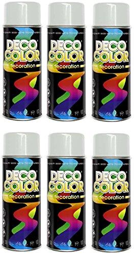 Preisvergleich Produktbild 6er Sparpack DC Lackspray glänzend 400ml nach RAL freie Farbauswahl (6 Dosen in lichtgrau glanz RAL 7035)