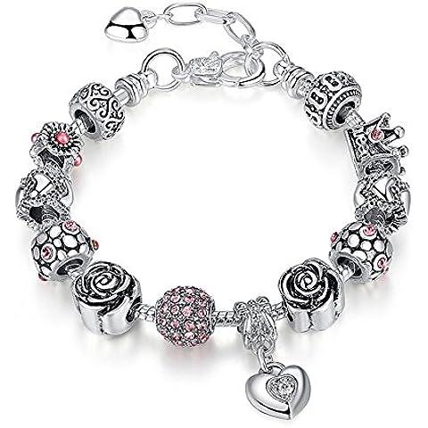 A TE® Bracciale Charms da Donna Beads cristalli viola Regalo Festa #JW-B129