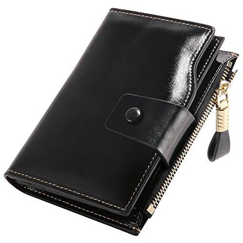 D Schutz, Damen Geldbörse Echt Leder Clutch Brieftasche, 10 RFID Schutz Kartenfächer 2 ID Windows 6 Geld Fächer, Portemonnaie Deman Geschenkbox für Geschenke (9.8*2.8*12.5cm) (Schwarz) (Kleine Brieftasche Brieftasche Frauen)