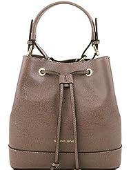 Tuscany Leather - Minerva - Sac secchiello pour femme en cuir Saffiano - Taupe foncé