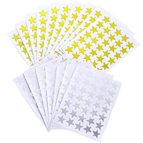 3500 Stück Stern Aufkleber selbstklebende Aufkleber Stern für Schule und Weihnachten Handwerk Projekte Dekor, Gold und Silber