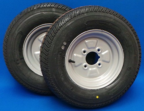 """Pair of 145 x 10"""" Radial Trailer Wheels and Tyres 145 / 80B10 - 4"""" PCD Test"""