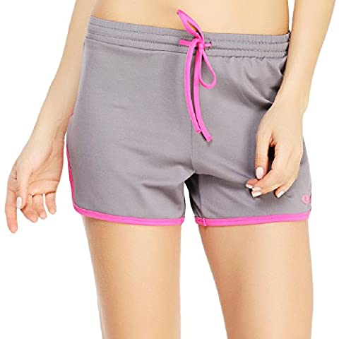 Yvette Women's Sports Shorts - Anti-bacterial Breathable Running Short #8027, Grey/Rose, L