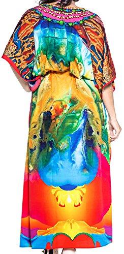 LA LEELA Damen Überdimensional Maxi Kimono Kaftan Tunika Kaftan Damen Top Freie Größe StrandKleider In 11 verschiedenen Farben Amazon Blau