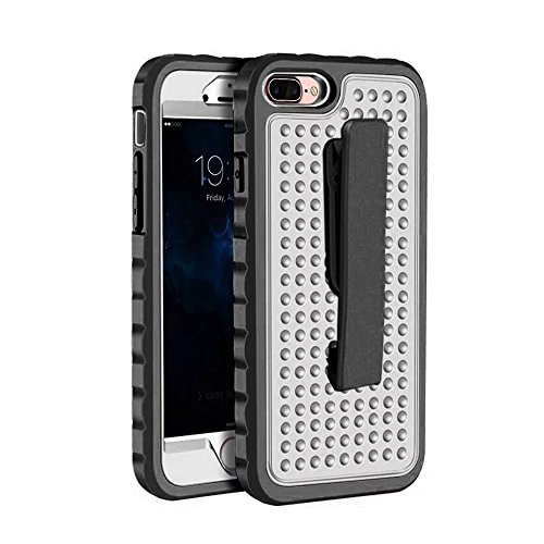 IPhone 7 Plus Case, Super Shockproof 3 In 1 PC Hard Case mit Clip für IPhone 7 Plus ( Color : Silver ) Silver