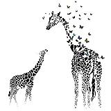 Giraffe Schmetterling Silhouette Wandsticker DIY wasserdicht abnehmbare Wandtattoo Home Room Decor, 35,4