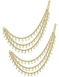 Karatcart Fashion Jewellery GoldPlated Multi-Layered Long Hair Chain For Women