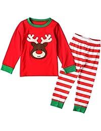Bebone Ninos Ninas Conjunto de Pijamas de Navidad Santa Claus Camiseta Manga Larga y Pantalones Largas