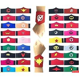 36 Pack Superhero Bracciale per Bambini Ragazzi e Ragazze Supereroe Compleanno Feste Bomboniere, Supereroe Bracciale in…