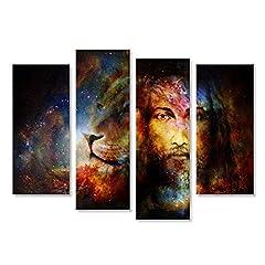 Idea Regalo - islandburner Quadri moderni Pittura di Gesù con un leone nello spazio cosimc, il contatto vis Stampa su tela Quadro FBU