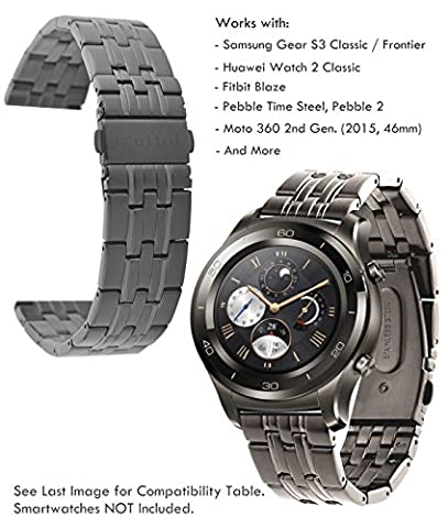 Truffol 22mm Metal Band for Samsung Gear S3 Frontier & Classic, Fitbit Blaze, Huawei Watch 2 Classic - Quick Release Stainless Steel Strap Wristband (Titanium Grey)