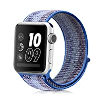 Compatible for Apple Watch Band 38mm 42mm Soft Lightweight Breathable Nylon Sport Loop Replacement Strap Replacement Band Compatible for iWatch Series 1/2/3/4 (42mm, Striped lake blue)