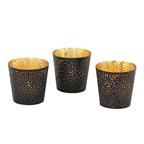 albena shop 73-144 Tinka 3er Set orientalische Teelichthalter Metall ø 7,5 x H 7 cm (schwarz/gold)