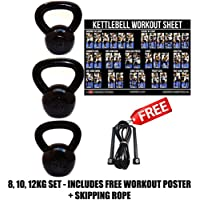 FXR 8, 10, 12KG KETTLEBELLS STRENGTH TRAINING HOME GYM FITNESS KETTLEBELL SET