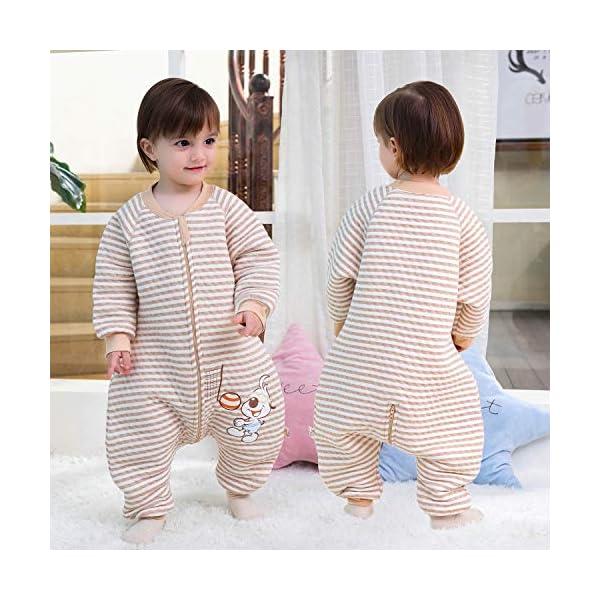 Saco de Dormir para bebé con Patas Saco de Dormir de Invierno de Manga Larga con Forro cálido y pies, Pijama de Mono… 4
