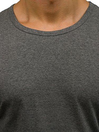 BOLF Herren Longsleeve Sweatshirt Langarm Pulli Figurbetont Farbwahl 1A1 MIX Dunkelgrau_2099L
