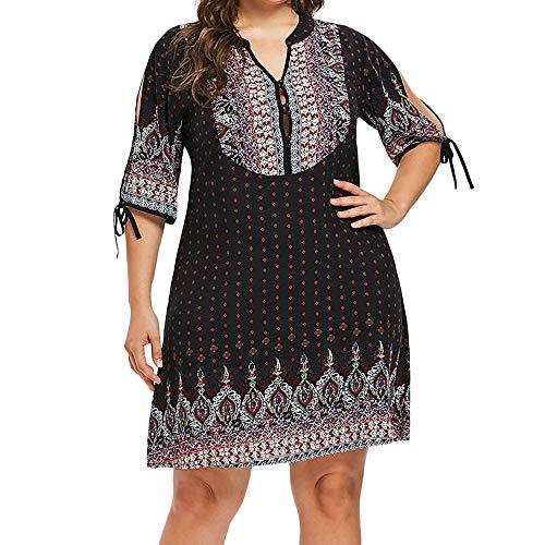 MCYs Damen Casual Übergröße Knöpfe Geometrische Split Ärmel Boho Drucken Minikleid Retro Blumendrucken Strandkleid Kleid Ethno-Style Partykleid -