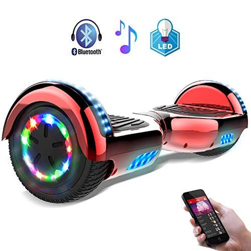 RCB Hoverboard Scooter Elettrico 6.5 inch Auto-bilanciato con luci sulle Ruote Bluetooth per Adulti e BAMB (Rossa Cromato)