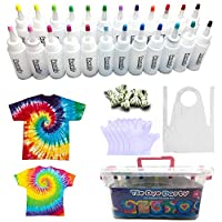 24 Colors Tie Dye Kit, TIE-DYE Textile Colours 60ml Bottles with Table Covers Aprons Gloves Rubber Bands & User Manual, Upto 36 Projects for Kids Adults Shirts Caps Hoodie, Fabric Painting Dyeing Set