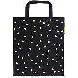 Unbekannt Artebene Shopper Lieblingstasche Samt Dots Vulcan 40x45 cm, Tasche Schwarz mit goldenem Herz, Geschenk