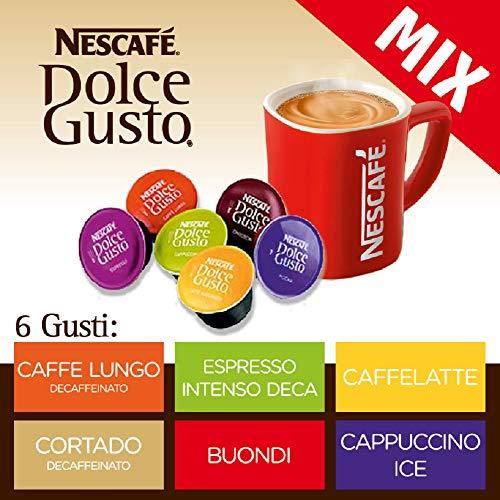 Nescafe DolceGusto MIX 6 Gusti (96 Capsule) NESCAFE\' DOLCE GUSTO: Espresso Intenso Decaffeinato, Cortado Decaffeinato, CaffeLatte, Cappuccino Ice, Caffe Lungo Decaffeinato, Buondì