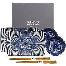 Tokyo Design Studio Kotobuki Sushi Set. 6-teiliges Set. 2 Sushiteller, 2 Dipschälchen und 2 Paar Essstäbchen. Aus Hochwertigem Porzellan. In schöner Geschenkbox. Spülmaschinenfest. Mikrowellengeeignet