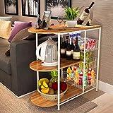 WXP Kitchen Furniture - Horno de microondas, Estante, Sala de Libros, Sala de Estar, Tres Niveles, Armario eléctrico, Estante - armarios y armarios Cubiertos (Color : Color Roble)