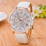 #6: CLWD Geneva White Color Unisex Watches Roman Numerals Fau PU Leather Analog Quartz Women Men Casual Relogio Wrist Watch