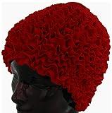 Fashy Bonnet de Bain à Froufrous pour Femme Rouge