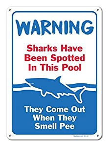 Wall Art Decorative Signs Pool Signs Sharks Have Been Spotted in This Pool Sign Pool Rules Metal Room Plaque Funny Aluminum Sign