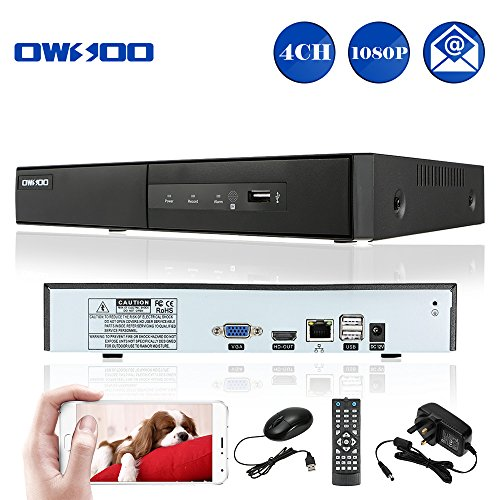OWSOO 4 Channel NVR 4CH 1080P Onvif NVR 720P Realtime Surveillance DVR  Recorder, HD 1280*720P Video Recorder, Motion Detect, Email Alert, HDMI  Output,