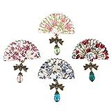 OULII 4pcs Fan Broche Pins écharpe Clips Style japonais Breastpin bijoux cadeau robe décoration