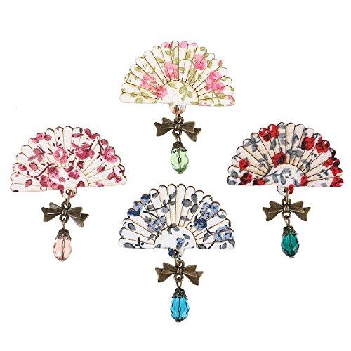Tinksky 4pcs Fan Brosche Stifte Schal Clips Japanisch-Stil Breastpin Schmuck Geschenk Kleid (Kostüm Vintage Schmuck Pins)