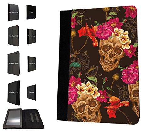 002964 - Skull Head Flower Headband Walking Dead Design Amazon Kindle Paperwhite 6'' 2014/2016 TPU Leder Brieftasche Hülle Flip Cover Book Wallet Stand halter Case