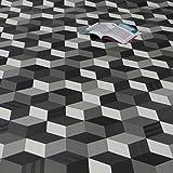 PVC Bodenbelag Cube 3D Würfel schwarz weiß grau Breite 2 m (11,95 p. m²)
