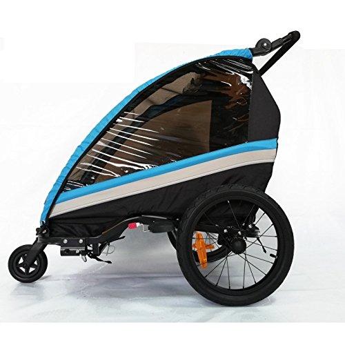 RBO Remolque de Bicicleta para niños One, Carrito de Bicicleta, monoplaza, Plegado rapido, antivuelvo, Manillar Regulable, Rueda 360, Frenos Independientes. Color Azul