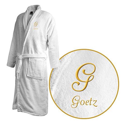 Bademantel mit Namen Goetz bestickt - Initialien und Name als Monogramm-Stick - Größe wählen White