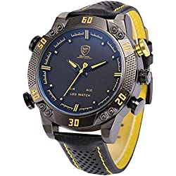 Shark Men's LED Date Day Alarm Digital Analog Quartz Sport Black Leather Band Wrist Watch SH263 Yellow