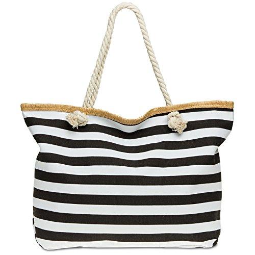 CASPAR TS1025 große XXL Damen Marine Strandtasche / Shopper mit klassisch maritimen Streifen Block Muster , Farbe:schwarz;Größe:One Size