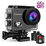 Crosstour Caméra Sport 4K Ultra HD Wi-Fi avec Télécommande Appareil Photo Caméscope Étanche 30M 170 °Grand-angle avec 2 pouces LCD 2 Batteries Rechargeables 1050mAh et 18 Accessoires