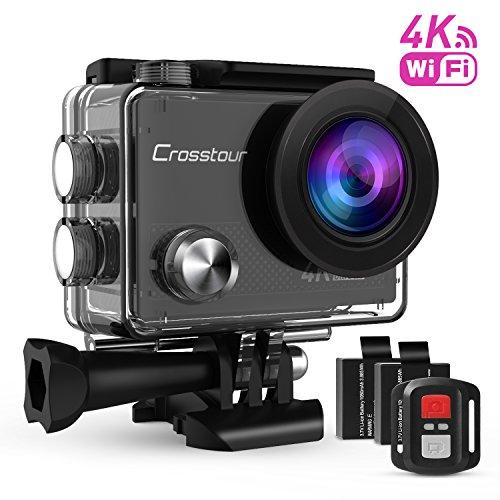 Crosstour Action Cam Sport-Kamera 4K Wifi Camera mit Fernbedienung Ultra HD 30M Unterwasserkamera 170°Ultra-Weitwinkel 2″ LCD mit 2 Wiederaufladbare 1050mAh Batterien und kostenlose Accessoires