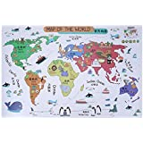 Tomtopp Cartoon Animals World Map Wall Stickers For Kids Room Nursery Decoration