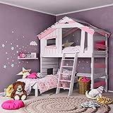 Jugend- und Kinderbett, Mädchenbett, Doppelbett, Etagenbett, Spielhaus in zartem Creme-weiß/Zart-rosa (mit Regal)