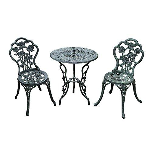 Jugendstil Tisch (Outsunny Bistroset Gartenset Gartenmöbel 3-TLG. Gussaluminium Antik Grün)