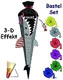 Unbekannt 3-D Effekt _ BASTELSET Schultüte -  Fisch / Hai Happen  - 85 cm - incl. Schleife + Name - mit Holzspitze - Zuckertüte - Set zum selber Basteln - 6 eckig / s..