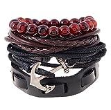 Injoy Jewelry Multi Strands Leder Armbänder Anker Leder Armband Glasperlen Armband für Männer Frauen, Set von 4 Stück