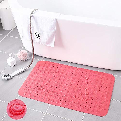 GuoLwen Badematte aus PVC, rutschfest, umweltfreundlich, steril, geruchsfrei, mit Saugnapf, Massage, bruchsicher, 50 x 80 cm rot -