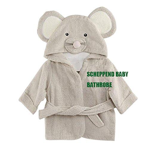 Scheppend Baby Junge & Mädchen Baumwoll säuglings Maus geformtes Kapuzenbademantel Grau