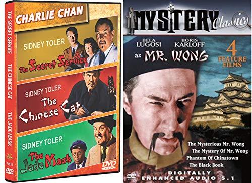 Globe-trotting Mystery Charlie Chan & Mr. Wong Sidney Toler stars Secret Service / Chinese Cat / Jade Mask + Mysterious Boris Karloff Black Book / Phantom of Chinatown 7 Film Detective Sleuth set